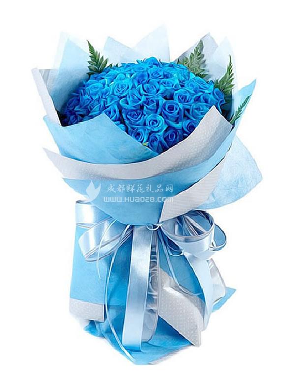 包 装:蓝色,浅蓝色皱纹纸圆形精美包装,蓝色丝带.